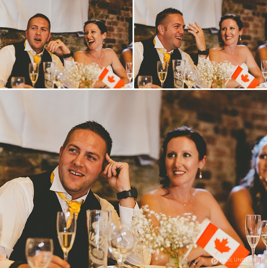Bride and groom react to wedding speeches