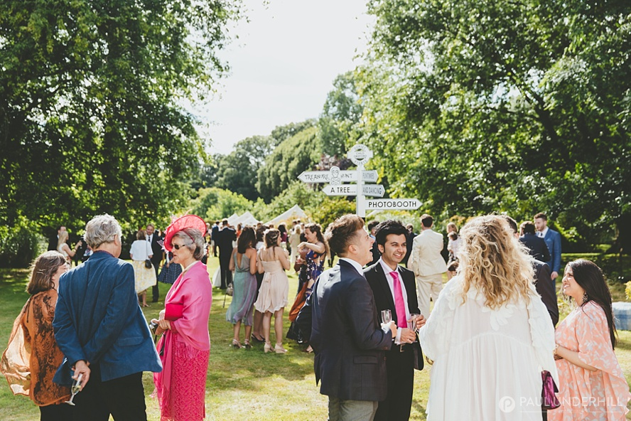 Candid portrait of guests outdoor wedding reception