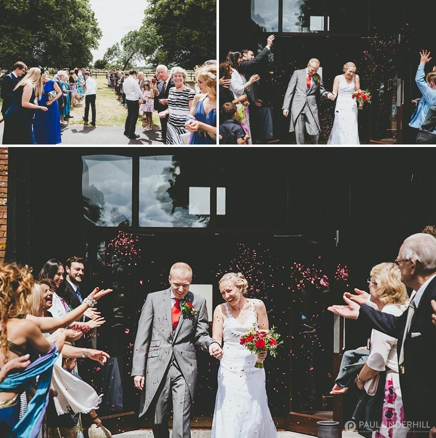 Confetti throwing Barford Park wedding