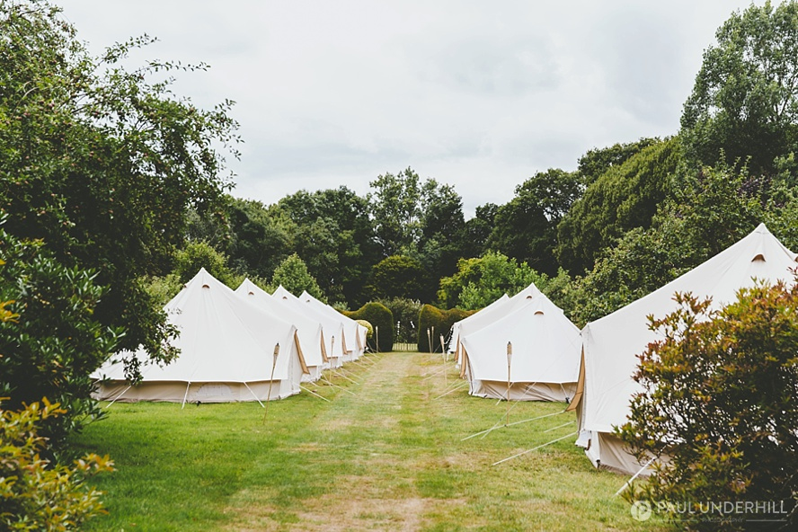 Glamping at Dorset country wedding
