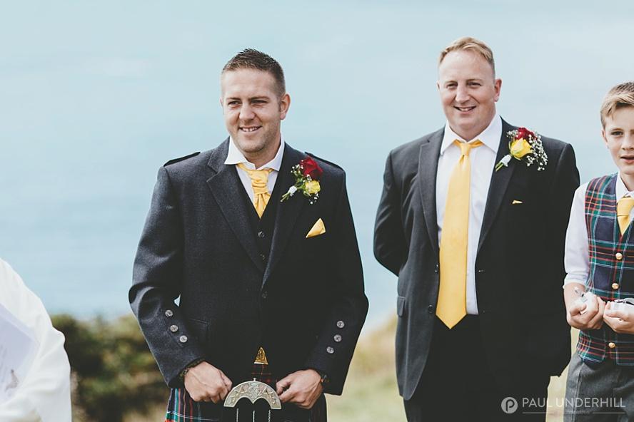Groom sees bride at Dorset wedding