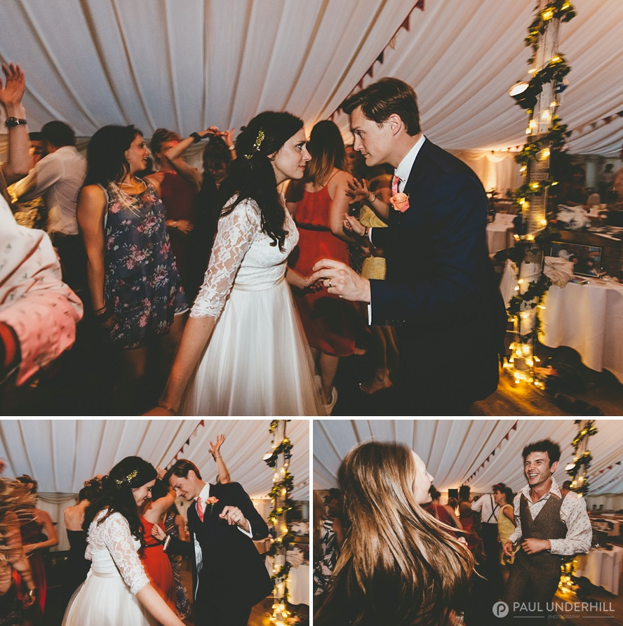 Guests dancing at Dorset wedding