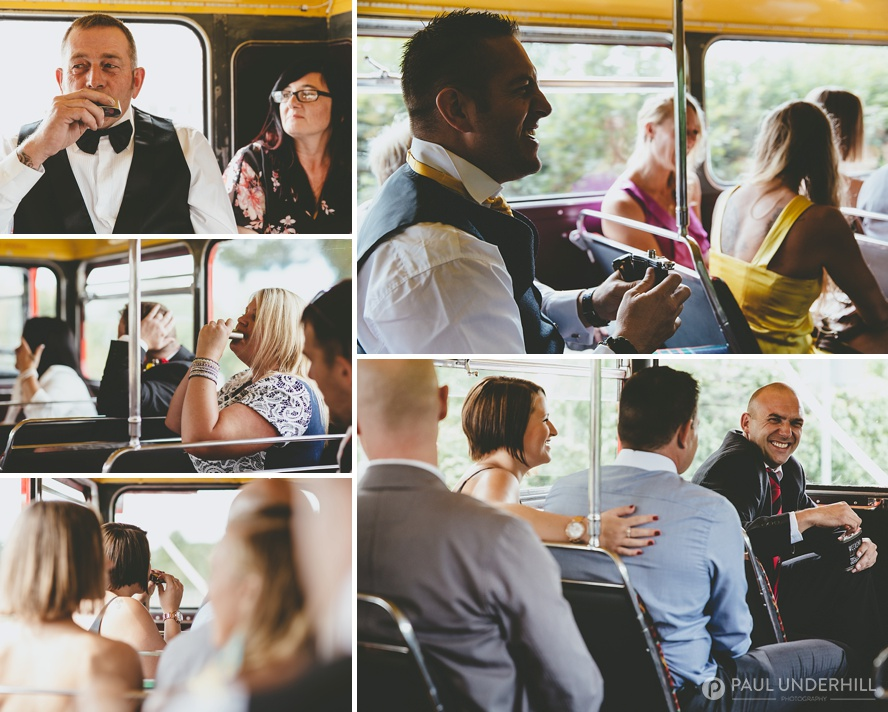 Guests on wedding bus in Dorset