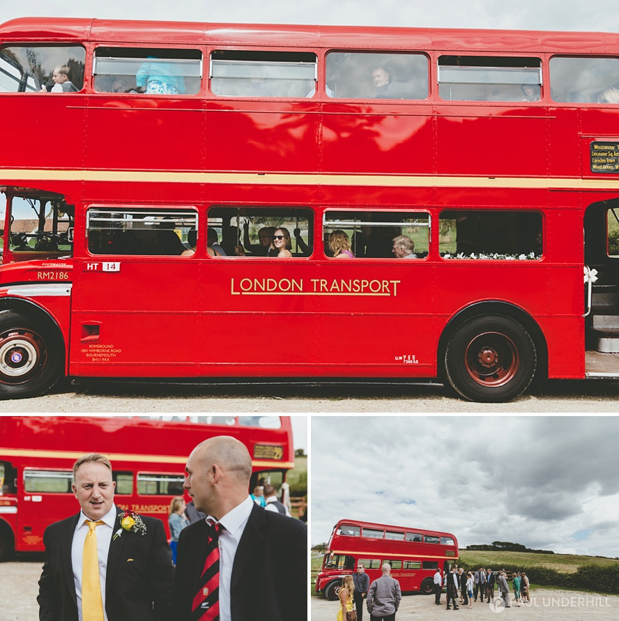 Red double decker London wedding bus