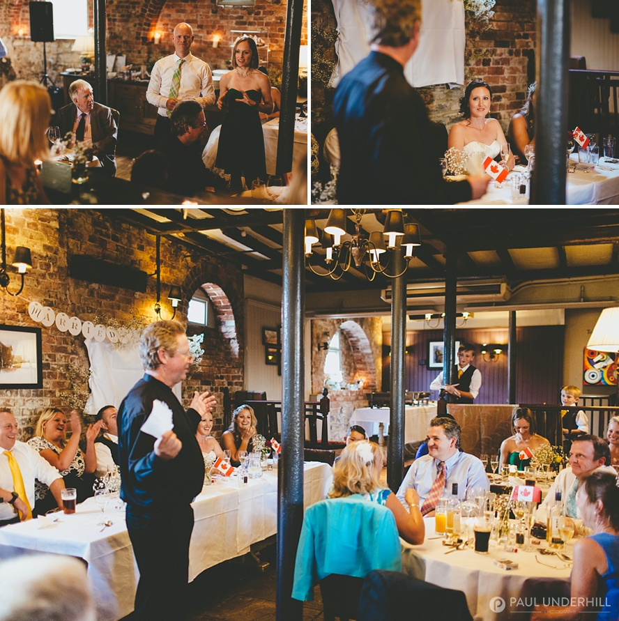 Reportage photography of wedding speeches