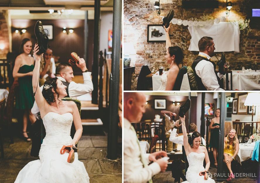 Shoe game at Dorset wedding