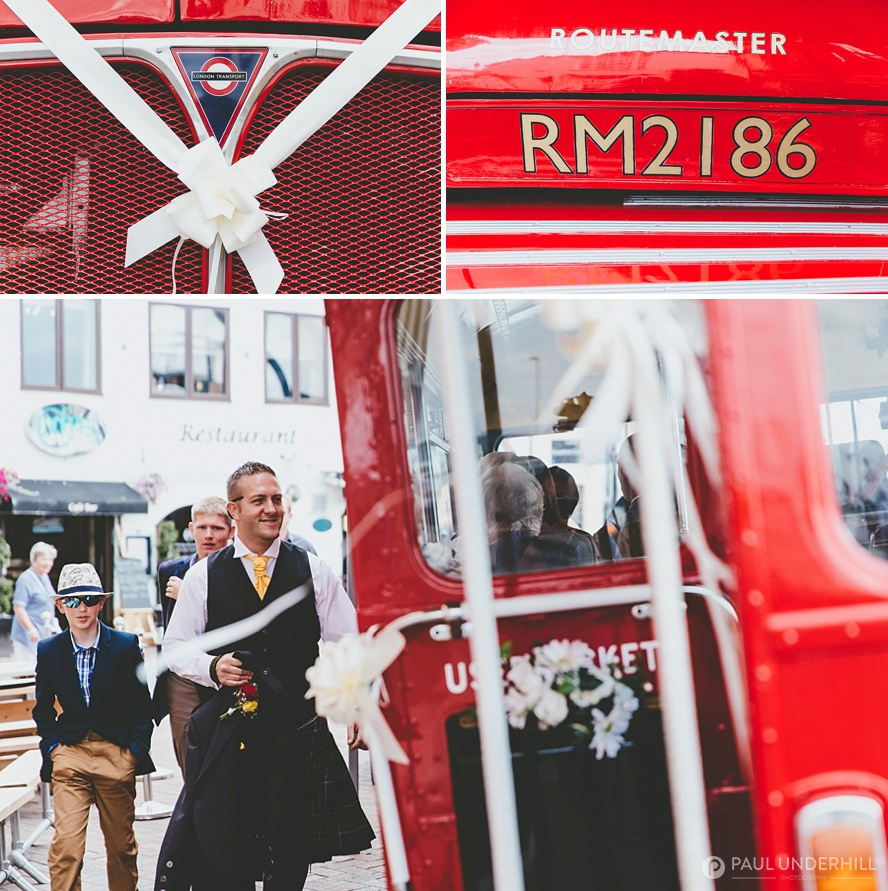 Wedding transport double decker bus