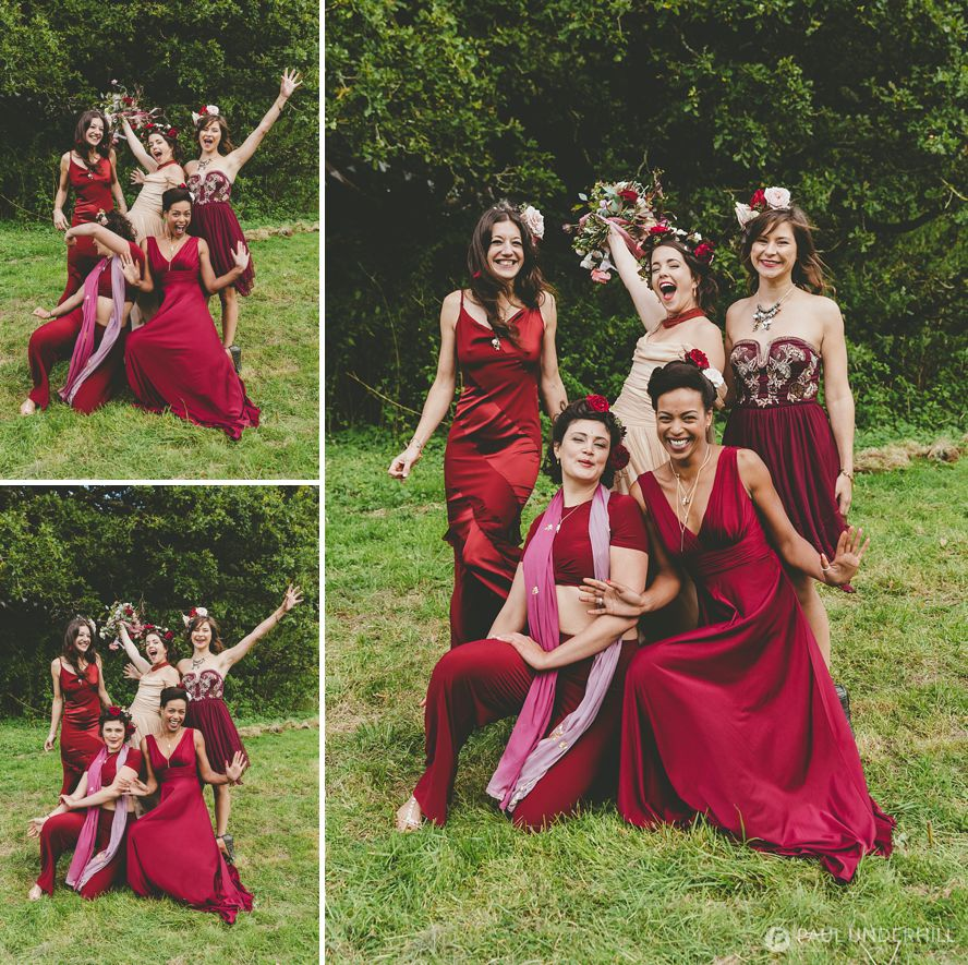 Alternative wedding portraits bride and bridesmaid