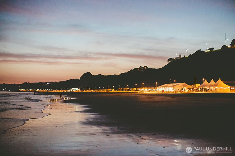 Beach wedding marquee at night