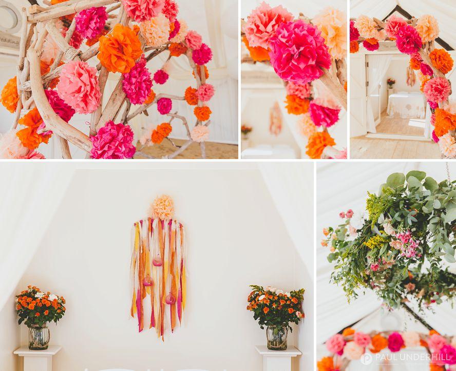 Beach wedding pink orange peach colours