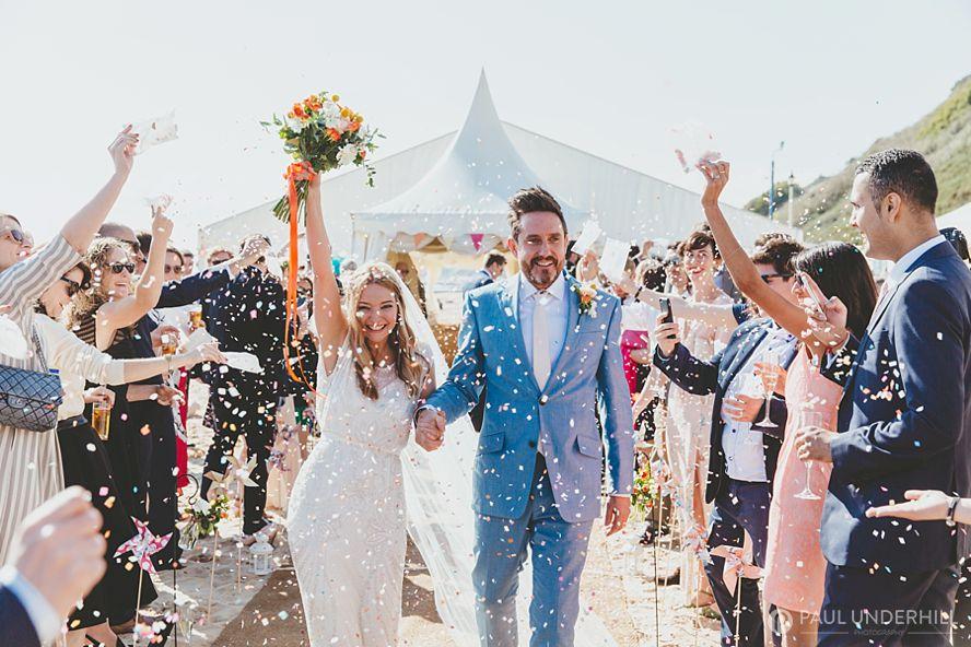 Beach weddings Bournemouth confetti throwing