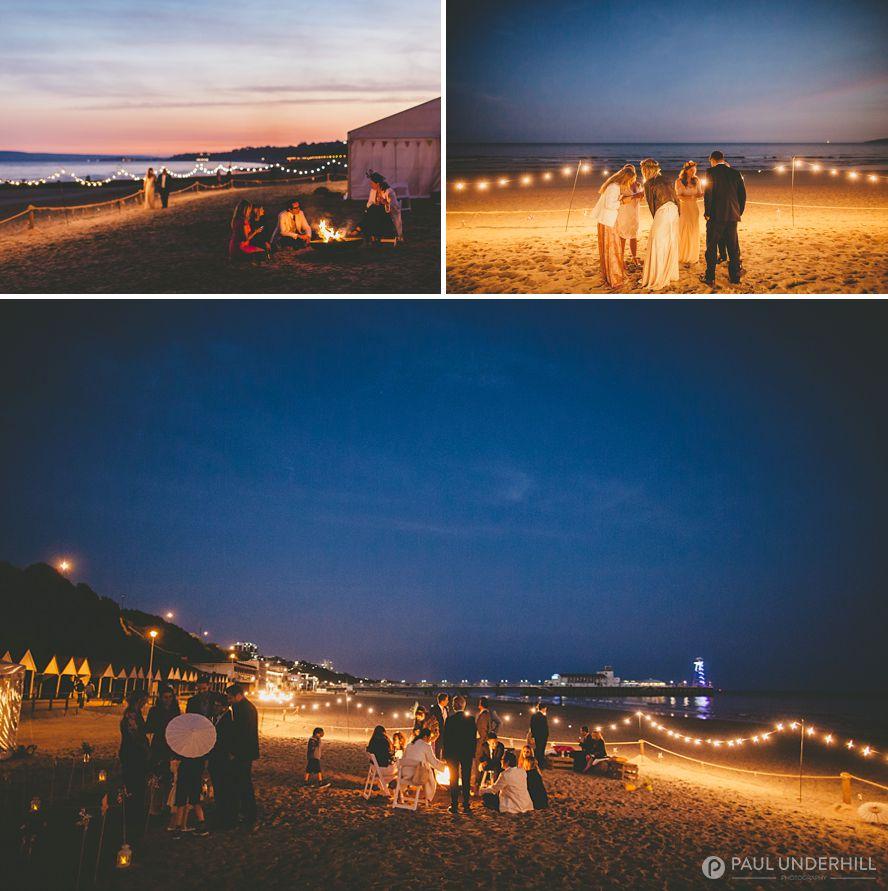 Bournemouth beach wedding nighttime photography