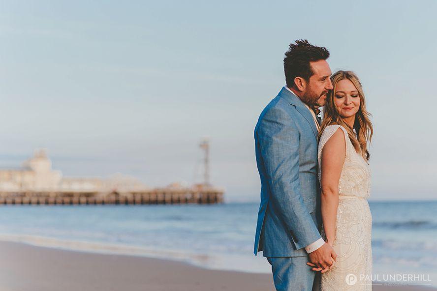 Bournemouth beach wedding portrait