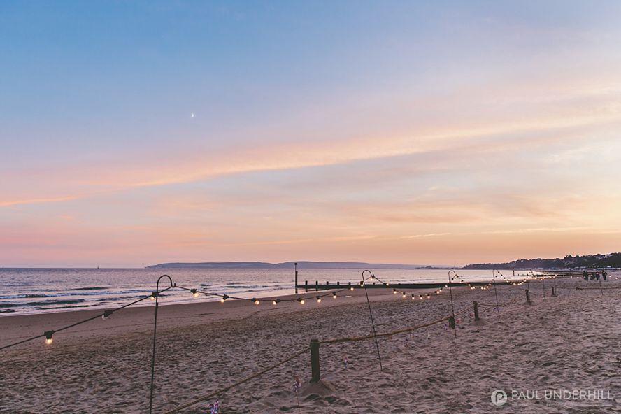 Bournemouth beach wedding sunset