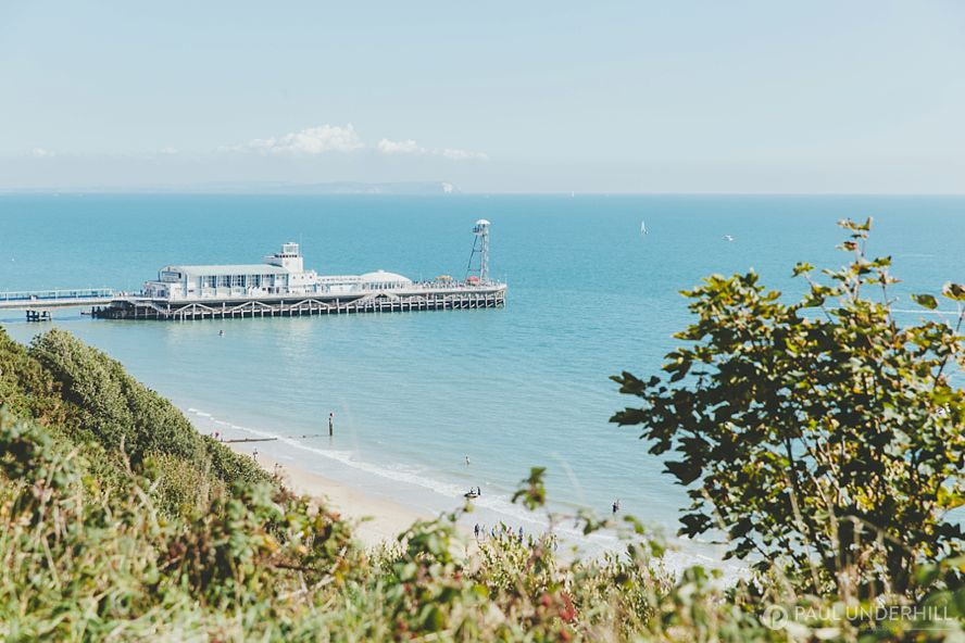 Bournemouth pier view from cliff top
