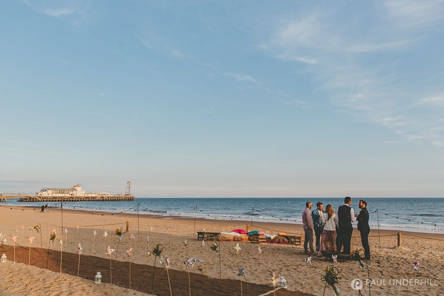 Bournemouth pier view from wedding marquee