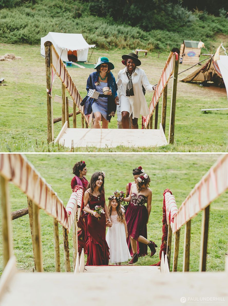 Bridal party arrives at festival wedding