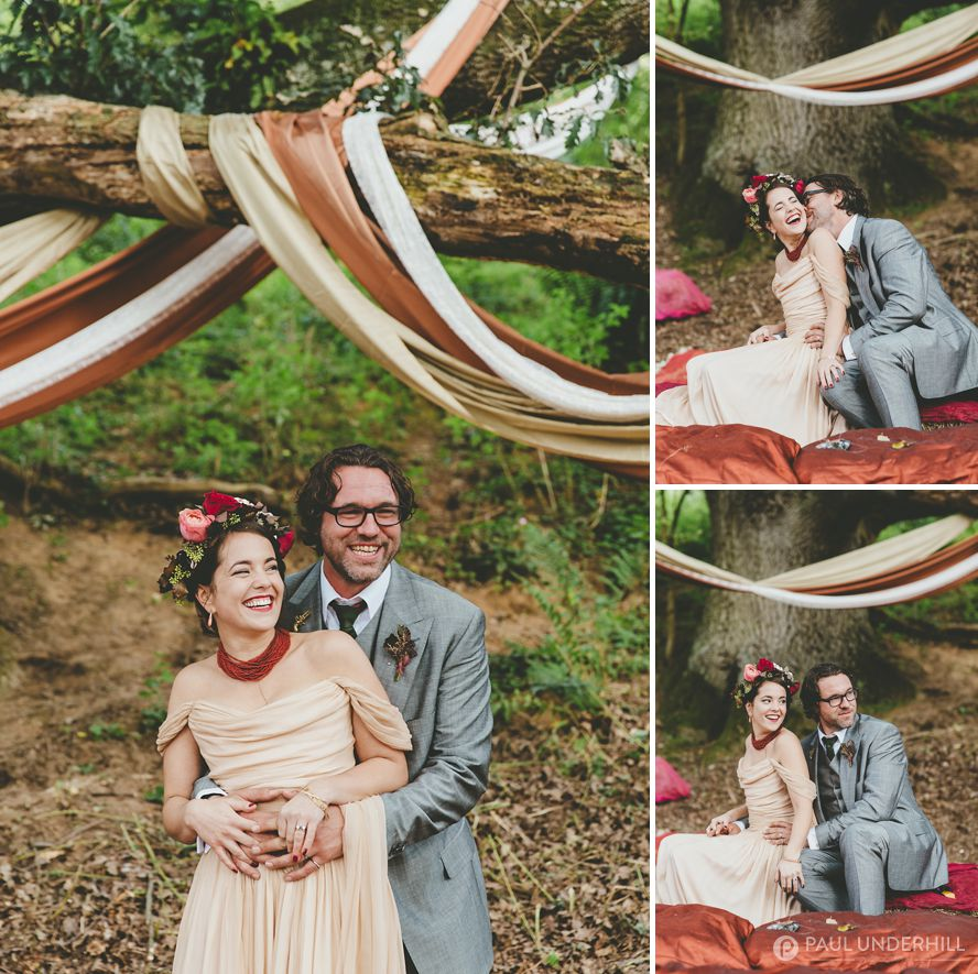 Bride and groom portraits at festival wedding