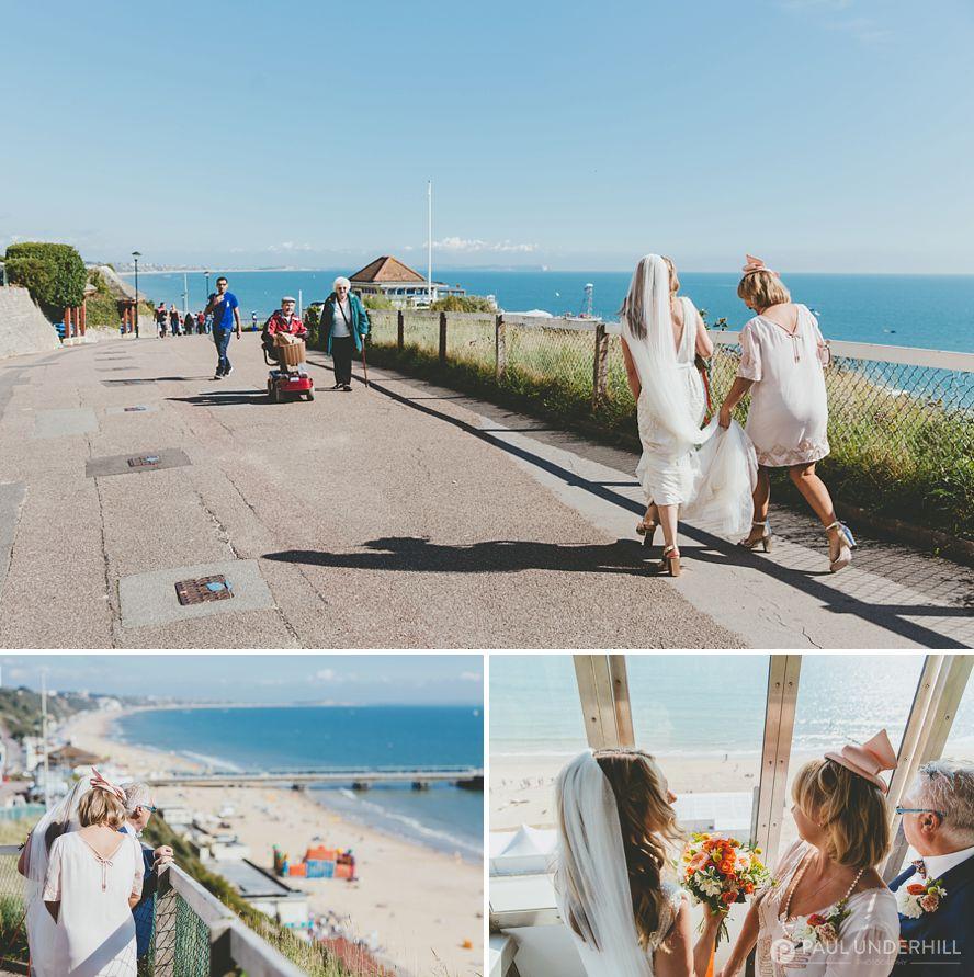 Bride arrives Bournemouth beach wedding