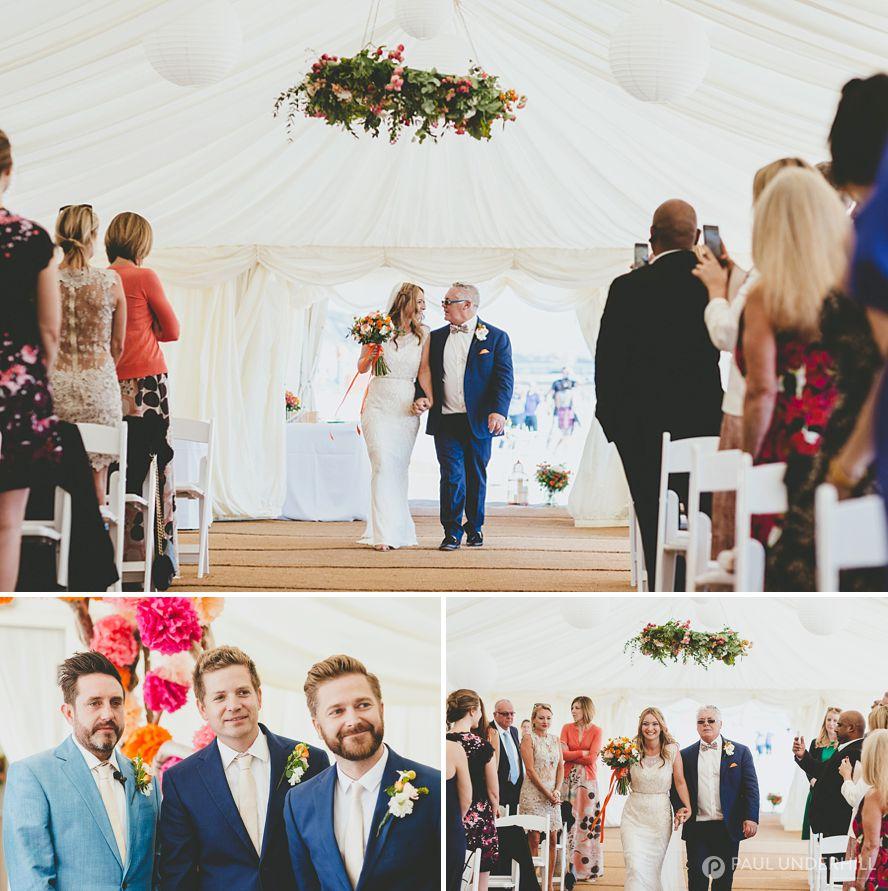 Bride arrives beach wedding Bournemouth