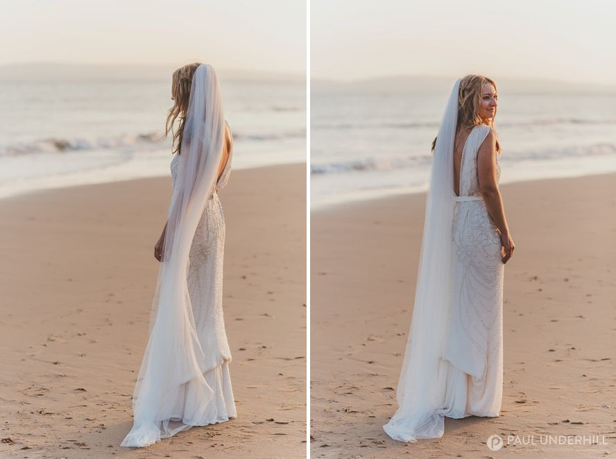Bride portraits on Bournemouth beach