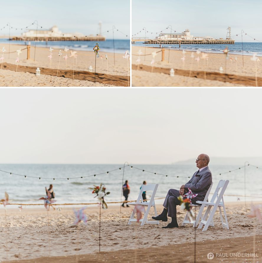 Candid photo of wedding guest on Bournemouth beach