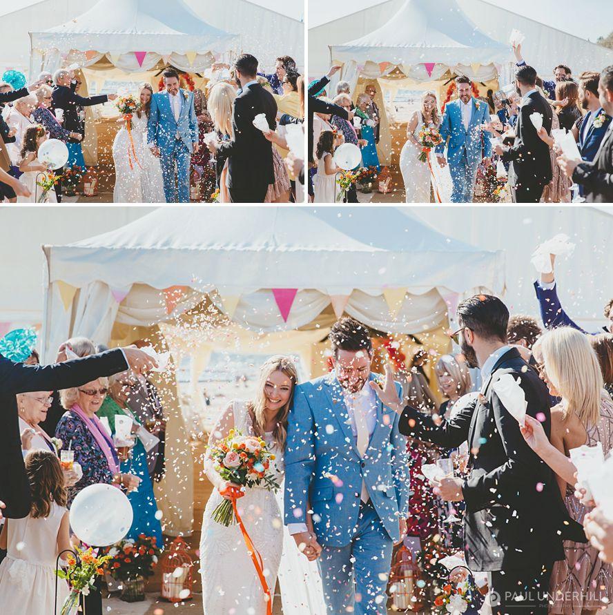 Confetti thrown at Bournemouth beach wedding