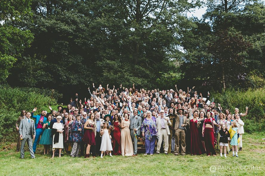 Festival wedding big group portrait