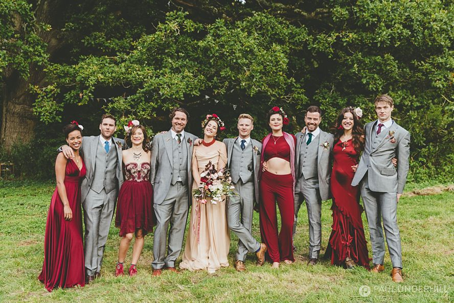 Festival wedding group portrait