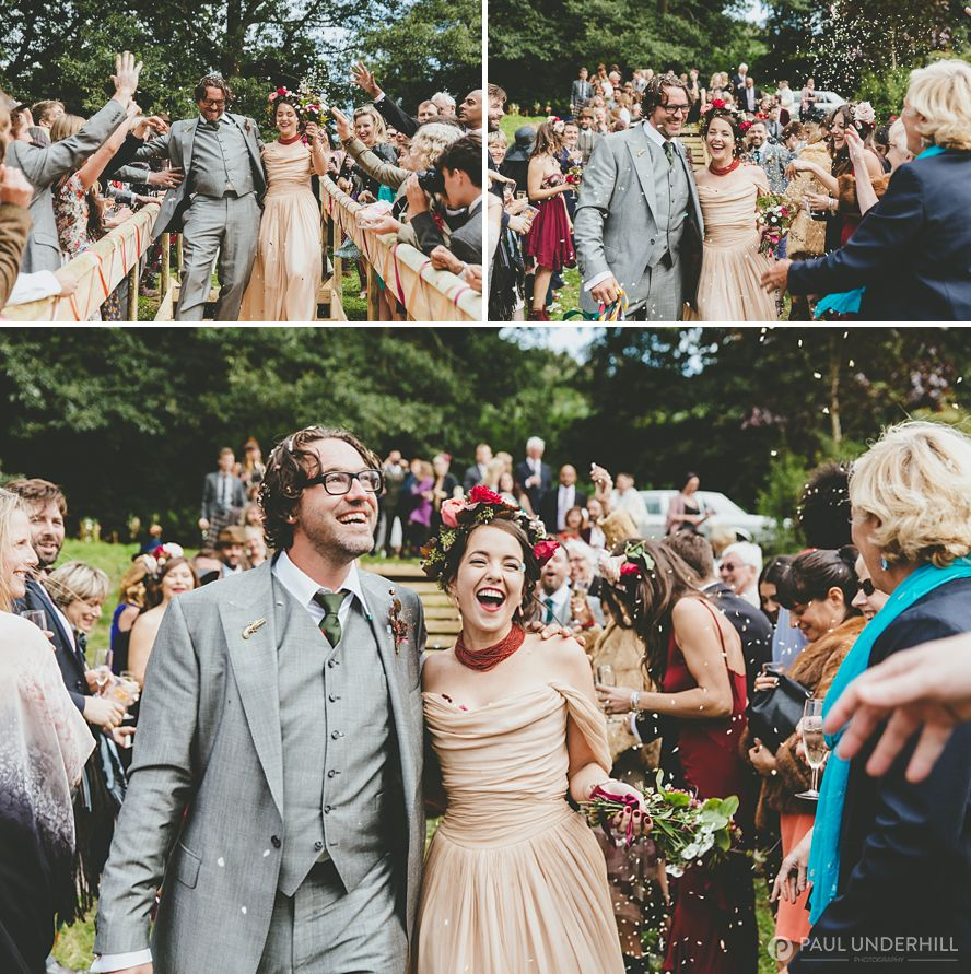Fun wedding moments confetti throwing