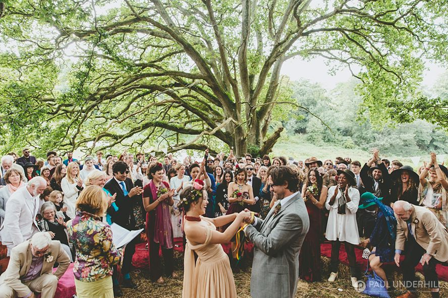 Handfasting ceremony under oak tree