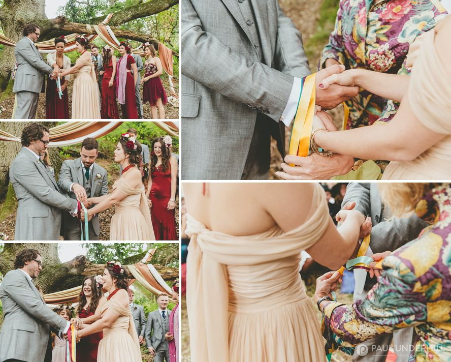 Handfasting ceremony with ribbons