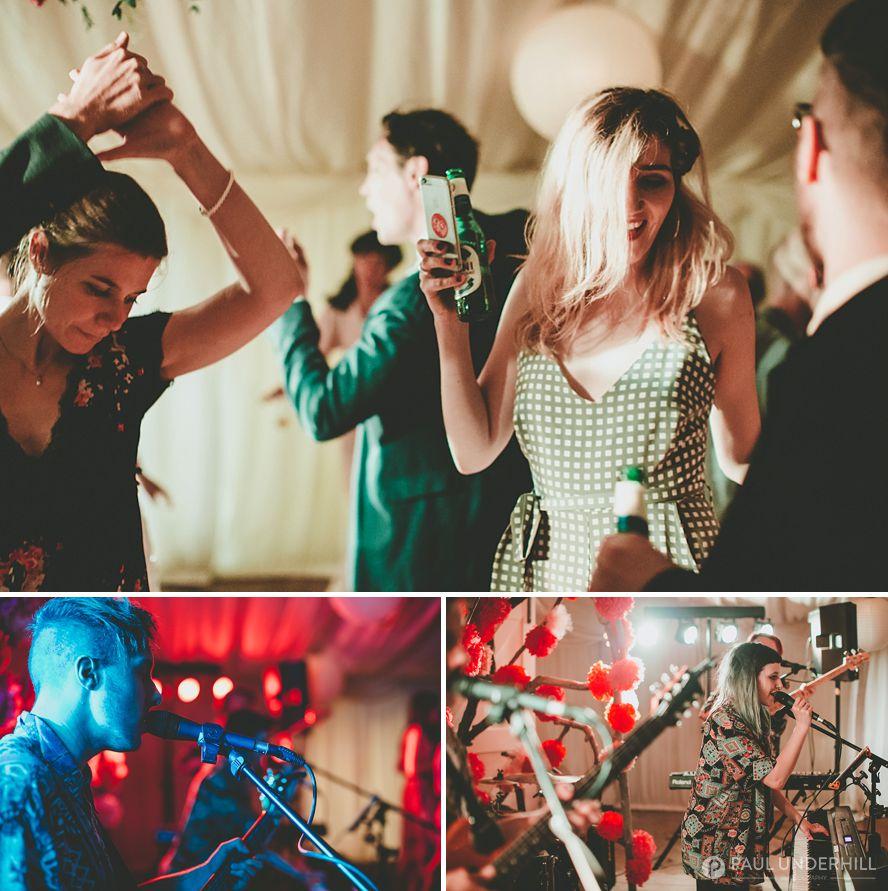 Late night dancing at beach wedding