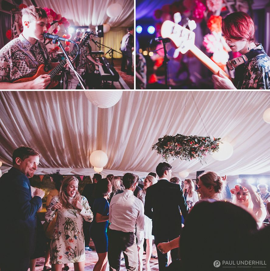 Live band plays at beach wedding