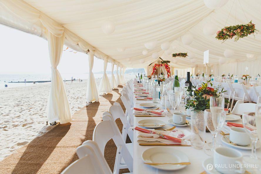 Marquee beach wedding