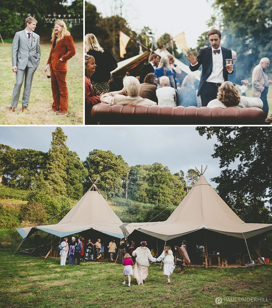 Outdoor tipi wedding in Dorset