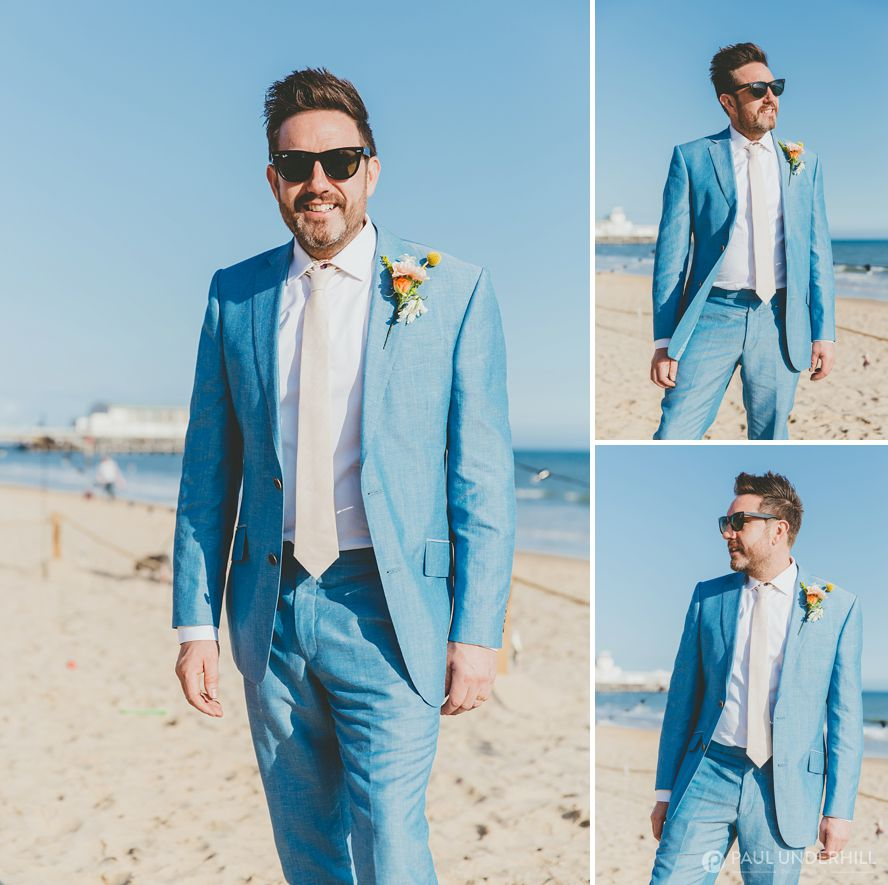Portraits of groom on Bournemouth beach