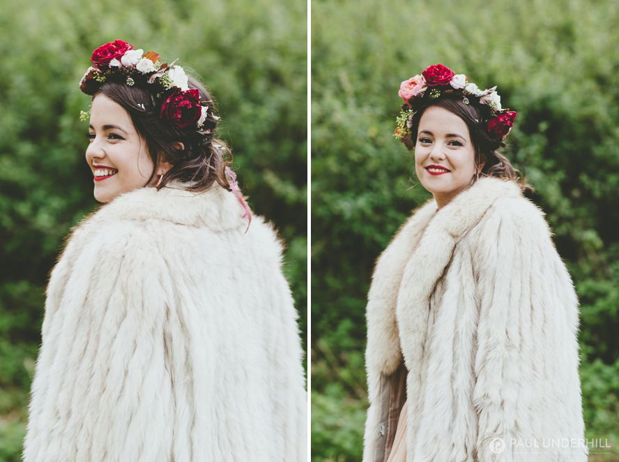Portraits of the bride at festival wedding