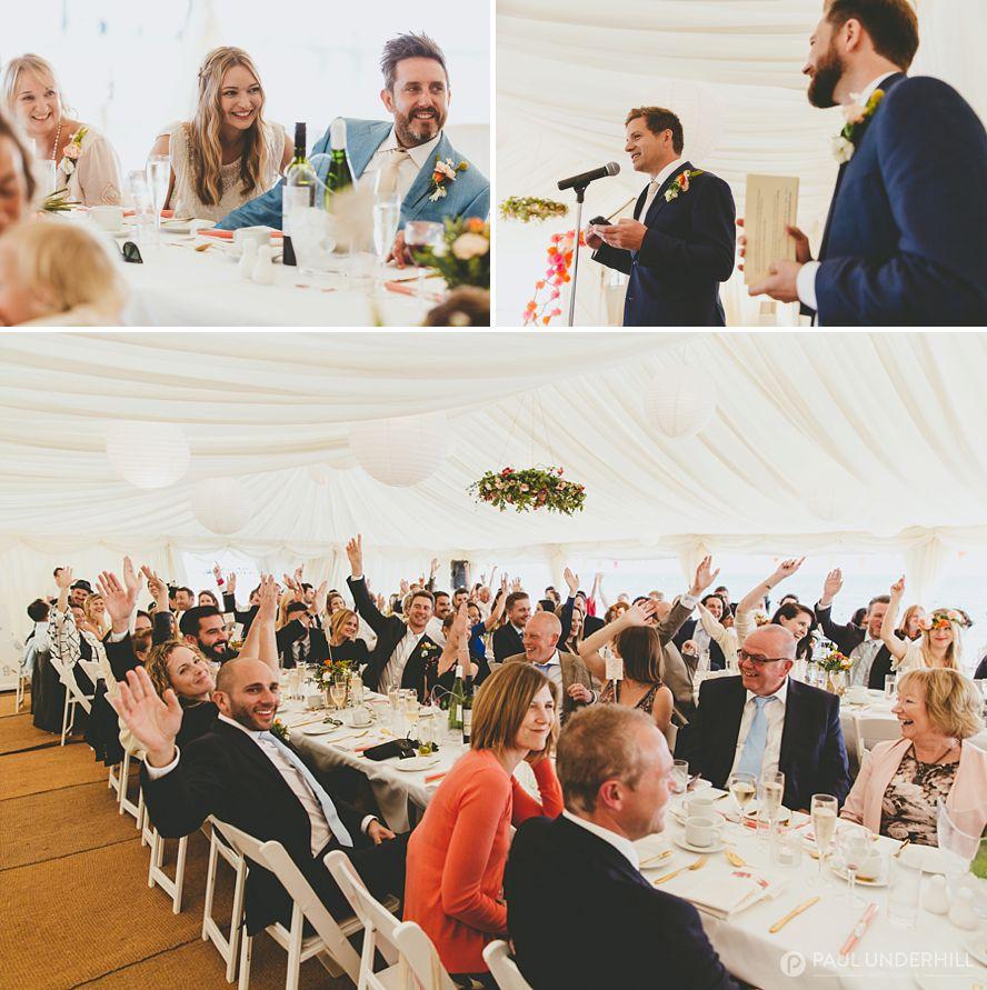 Reportage photos of wedding speeches