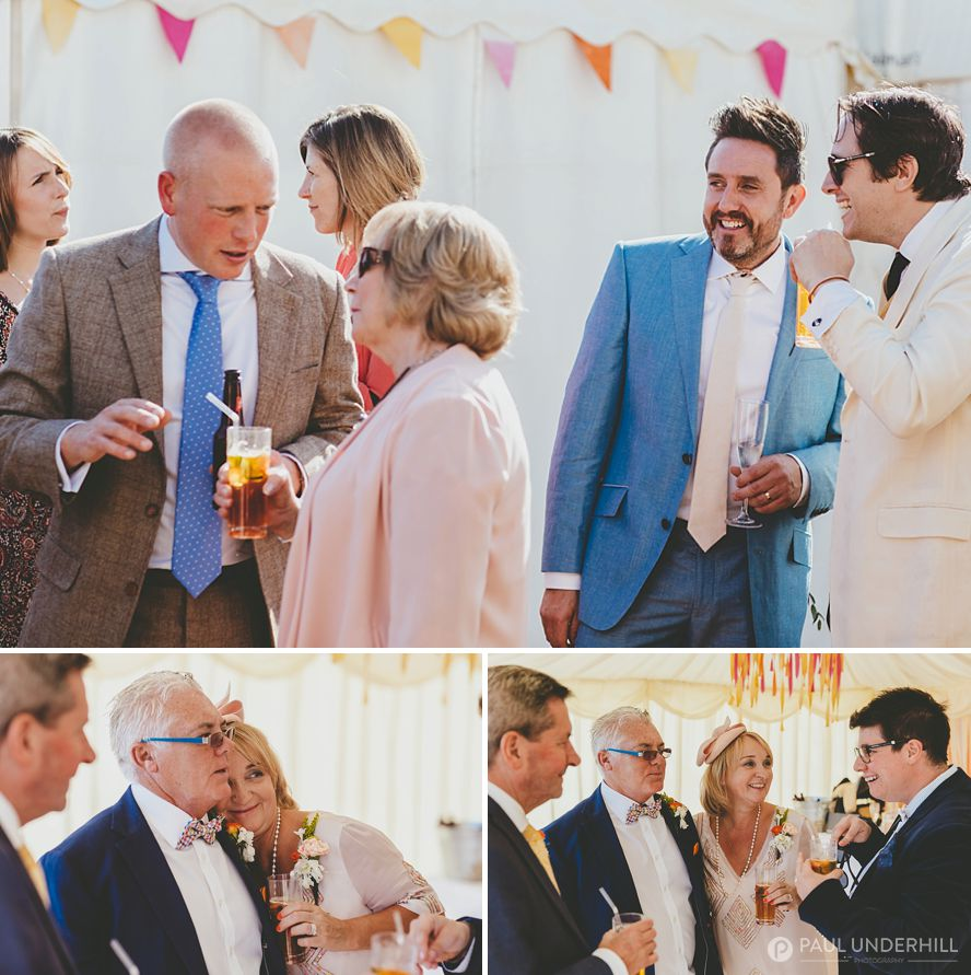 Sunny outdoor and marquee wedding reception