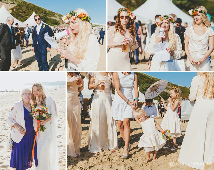 Sunny wedding day on Bournemouth beach