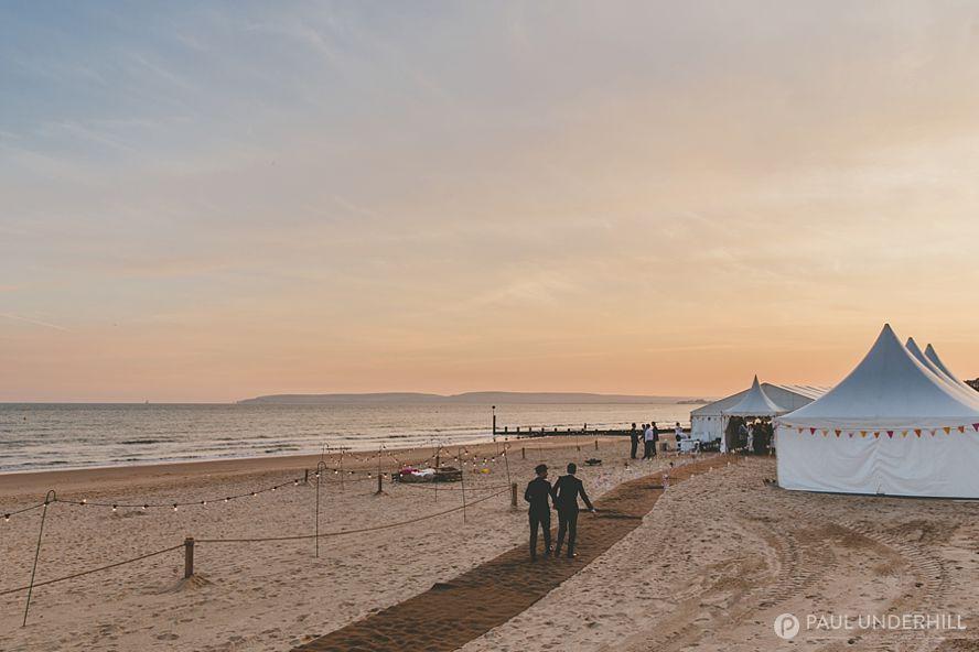 Sunset over Bournemouth beach wedding