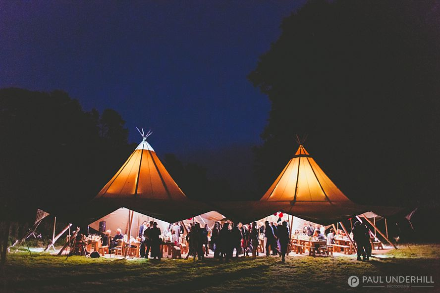 Tipi wedding photographed at night