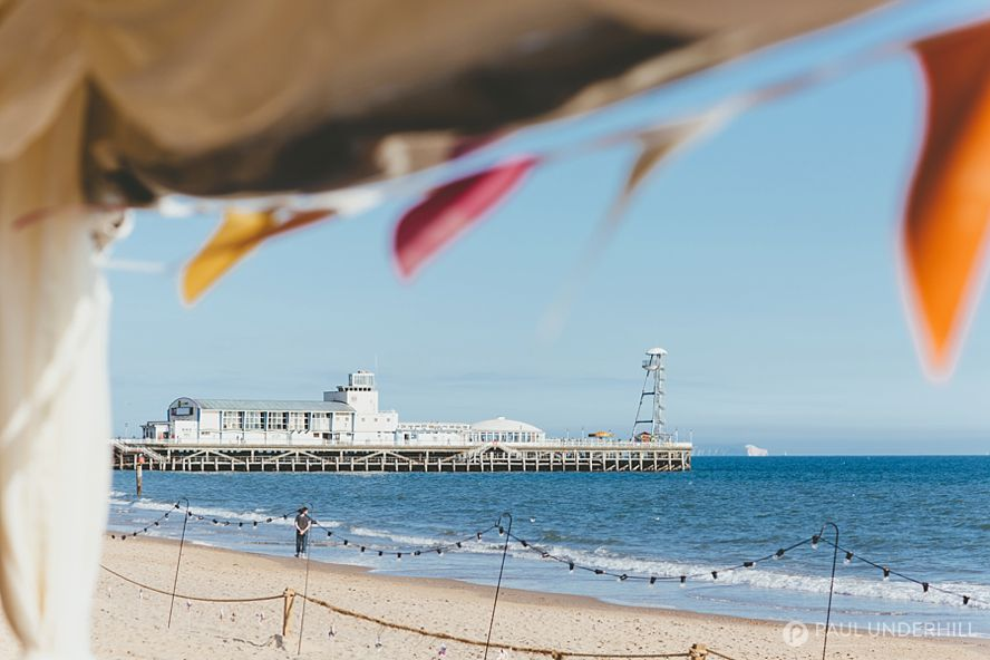 View of Bournemouth pier from wedding marquee