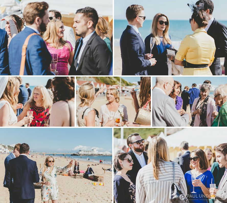 Wedding guests on Bournemouth beach