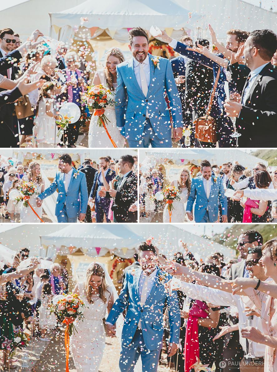 Wedding photography confetti throwing