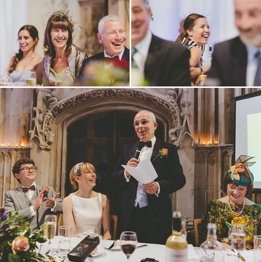 Father of the bride makes speech at Highcliffe Castle