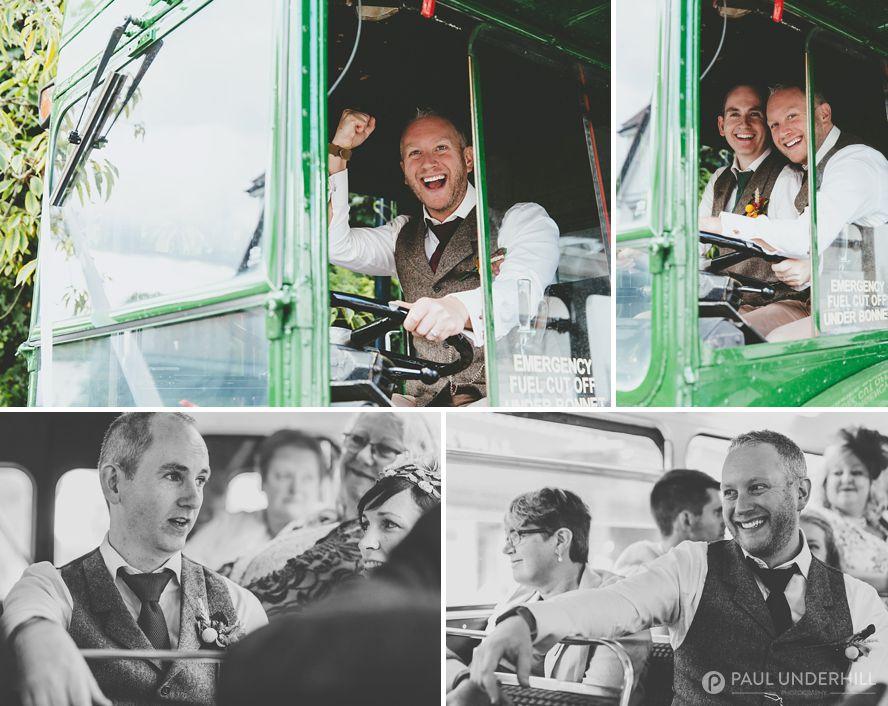 Grooms on wedding bus