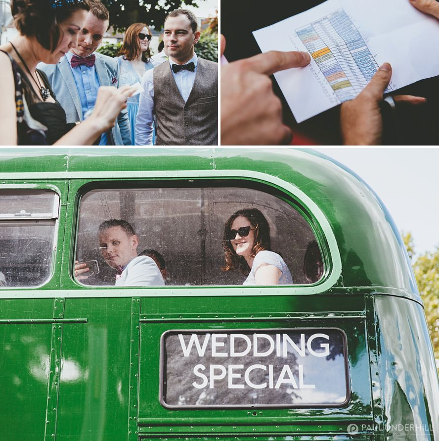 Vintage London wedding bus