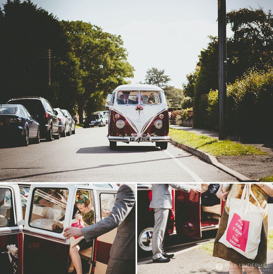 Vintage VW camper van wedding car